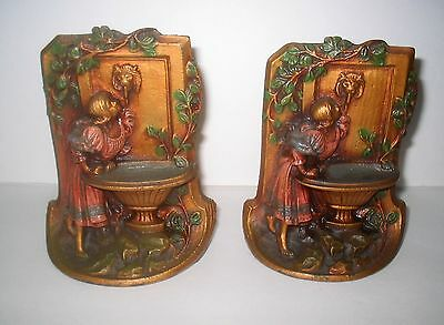 Vintage Painted Cast Iron Bookends Young Girl Drinking at Fountain of Knowledge