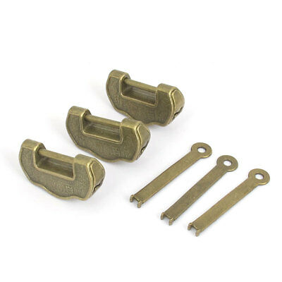 Old Style Chinese Lucky Lock Bronze Tone 3 Pcs for Jewelry Box