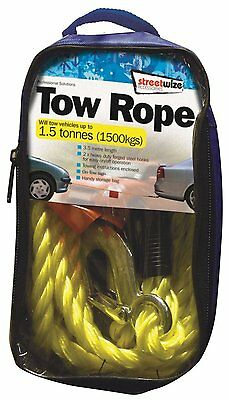 TO CLEAR Streetwize SWTR15 Braided Tow Rope with 2 Metal S Hooks 1.5 t Yellow