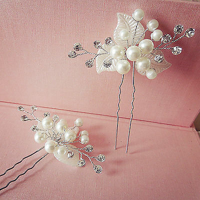 2PC Women Party dance White Pearl leaf Crystal Wedding Bride Hair Bobby U pin