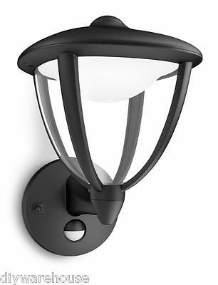 "Philips ""robin"" Superb Quality Black Wall Light With Motion Sensor Led Bulbs New"