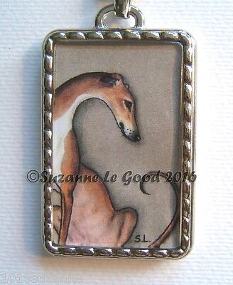 Greyhound Dog Painting Nimrod Keyring Or Handbag Carrier Charm Suzanne Le Good