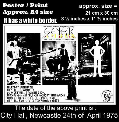 Genesis live concert City Hall Newcastle 24th of April 1975 A4 size poster print