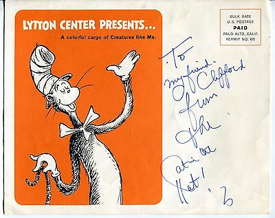 "Vintage DR SEUSS Related: Large Bank Ad Brochure - Signed By ""Cat In The Hat"""