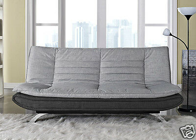 Fabirc Sofabed 3 Seater Egg Grey or Charcoal Fabric and Faux Leather Sofa Bed