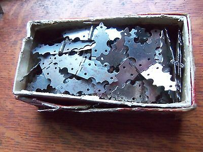 "Thirty-Eight Pairs Petite Vintage Steel Jewelry Box Door Hinges 5/8"" Tall"