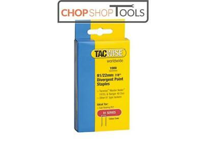 Tacwise TAC0288 91 Narrow Crown Divergent Point Staples 22mm - Electric Tackers