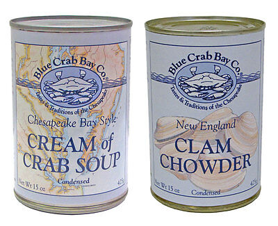 Blue Crab Bay Co 6 x She Crab, Cream of Crab, New England Clam Chowder Soup