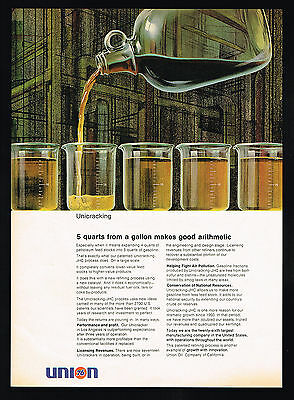 1968 Union Oil Company Unicracking JHC Process 5 Quarts From A Gallon Print Ad
