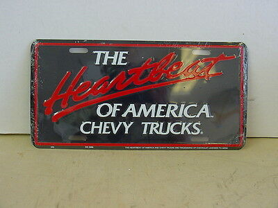 HEARTBEAT OF AMERICA, CHEVY  - Black Metal License Plate, NEW