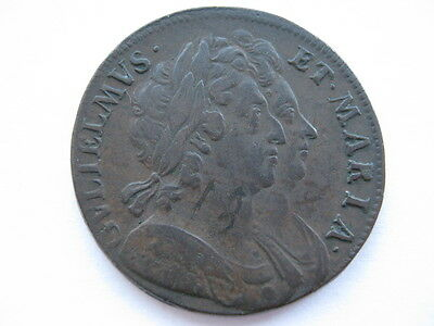 1694 William and Mary Halfpenny, NVF. ACS
