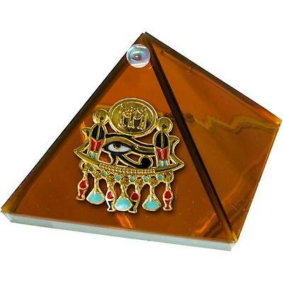 "2"" Art Glass EYE OF HORUS Pyramid In Amber Color!"