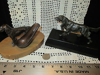 Vintage Lot of 2 Metal Dogs Statue Figurines and Pipe Holder on Wood Stands OOAK