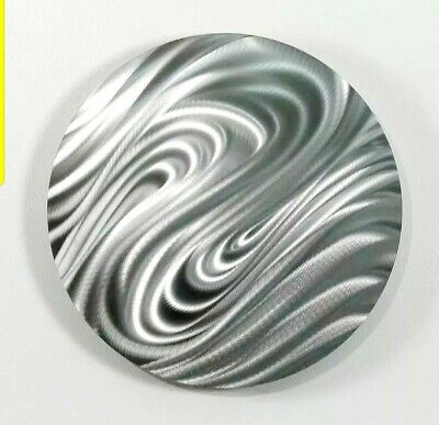 Statements2000 Abstract Silver Metal Wall Art Round Decor by Jon Allen Magnetize