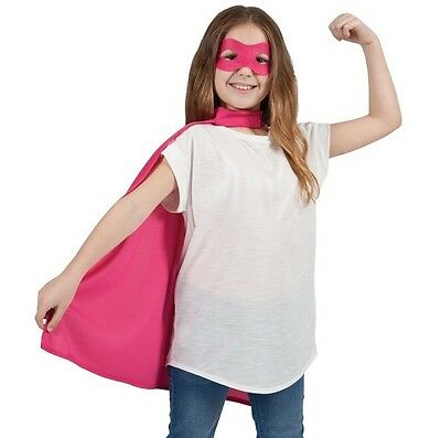 Childs Halloween Superhero Fancy Dress Kit Cape & Mask Pink Kids Cloak New w