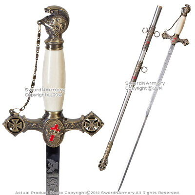 Masonic Knights Templar Ceremonial Sword Mason Antiqued Brown Finish with Chain