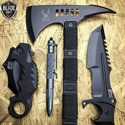 4PC Black Tactical Survival Hunting Combat Camping Pocket Knife Set Axe Pen EDC