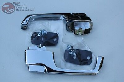 67-72 Chevy Truck Outside Exterior Outer Chrome Push Button Door Handle Set Pair