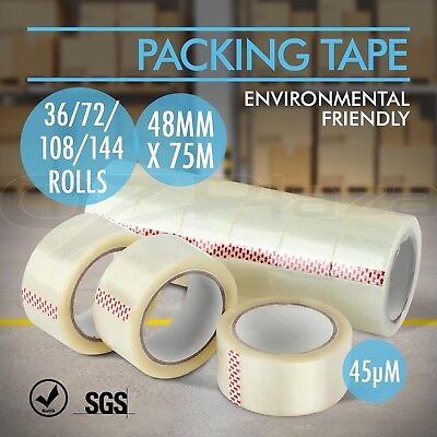 Packing Tape Packaging Sticky Sealing Shipping Clear Box Carton 75m 48mm