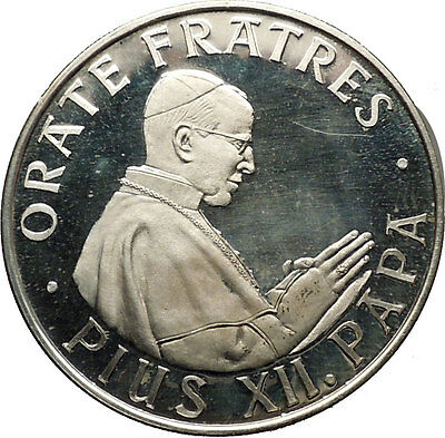 POPE PIUS XII 1958 Unofficial Vatican Silver Medal St. Peter's Basilica i53759