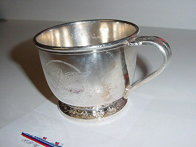 SS UNITED STATES LINES  Silver Punch Cup  /  Unusual Manhattan Patterned Handle