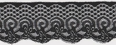 40mm Beautiful Wide Black Lace Edging (x 5.5 metres)