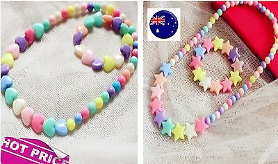 Girl Kid child Colorful Heart Star Necklace Bracelet Set Christmas Birthday Gift