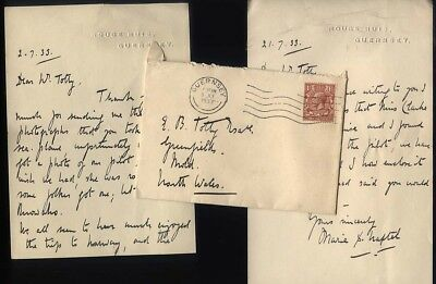 1933 GUERNSEY Envelope + letters from Rouge Huis, Marie Hastel