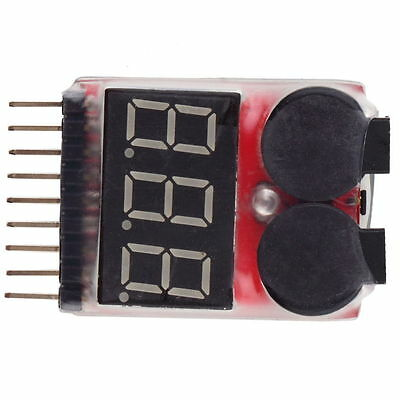 NEW RC Lipo Battery Low Voltage Alarm 1S-8S Buzzer Indicator Checker Tester GU