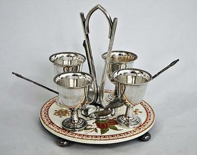 FINE ANTIQUE AESTHETIC MOVEMENT SILVER PLATED EGG CUP CRUET STAND 1860 coddler