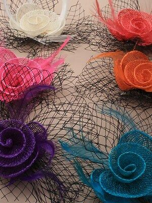 Small Hessian Rose & Black Netting Fascinator On a Forked Clip & Brooch Pin.