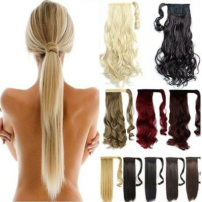 Wrap Around Ponytail Clip in Pony Tail Hair Extensions Real as Human Hair SN03