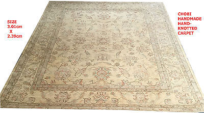 EXCLSUIVE RARE CHOBI VEGE DYED HAND KNOTTED RUG CARPET 3.01x2.39cm