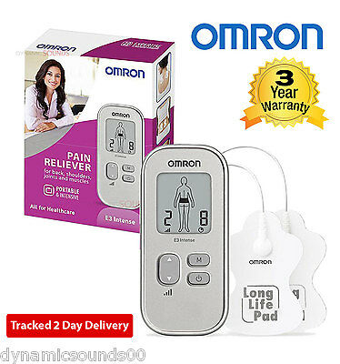 Omron E3 Intense Portable Drug Free Pain Reliever  Long Life Pads HV-F021-EW