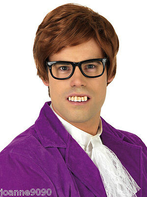 Mens 60s Austin Powers Gigolo Fancy Dress Costume Brown Wig and Glasses Set Kit