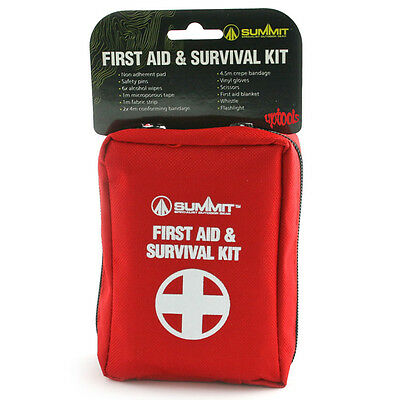 Summit First Aid & Survival Kit + Torch Emergency Whistle Camping Walking Car