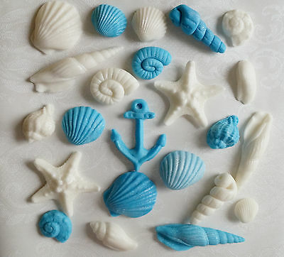 24 Blue/Ivory Sea Shells Edible Fondant Cake/Cupcake toppers decorations