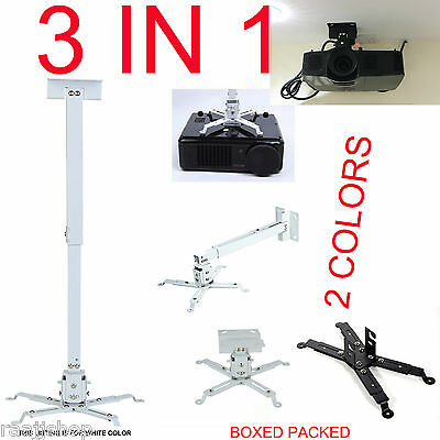 Universal Projector Ceiling Wall Mount Bracket Lcd Dlp Monitor Tilt Extendable
