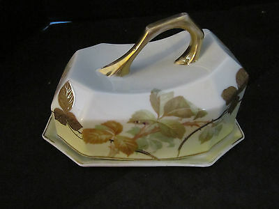ANTIQUE ROYAL RUDOLSTADT PRUSSIA PORCELAIN CHEESE KEEPER w/MAKER MARKS 5.5x7x5