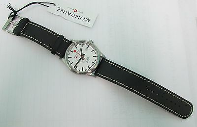 Mondaine Mens A6673030816SBB Day Date Leather Band Watch New With Tags