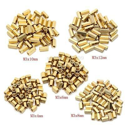 50x Gold Brass Hexagonal Female Nut M3 PCB Board Standoff/Spacer 4/5/6/8/10/12mm