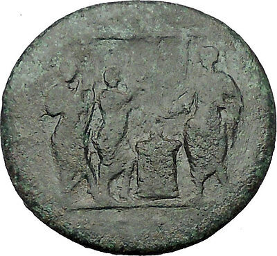 Domitian Sacrifices before Temple Music Players Saecular Games Roman Coin i54385