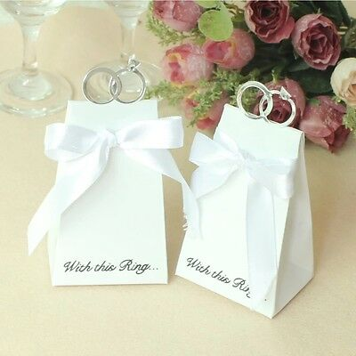 20/100PCS Dream Wedding Party Ring Style Gift Box Candy Chocolate Favor Bag