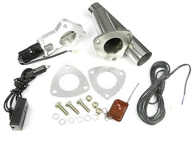 """STAINLESS UNIVERSAL EXHAUST CUTOUT-OUT VALVE E-CUT KIT REMOTE 2.25"""" / 57mm"""