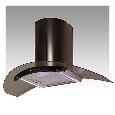 H76 Black Cooker Hood with LED Strip Lighting - Extractor Fan