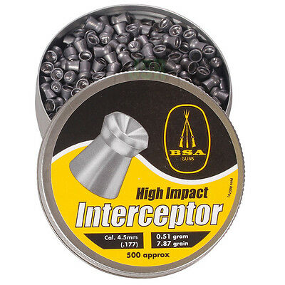 BSA INTERCEPTOR Hollow Point .177 Air Rifle Gun Pellets 500 Hunting Pest Control