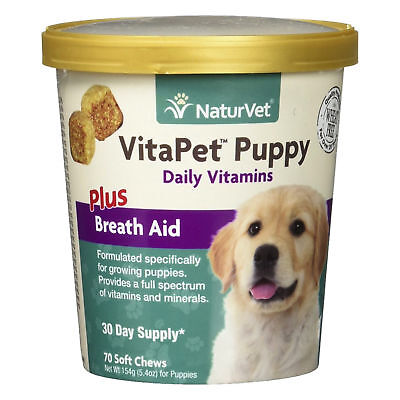 NaturVet VitaPet Puppy Breath Aid Soft Chews Formulated Vitamin for Dogs 70ct
