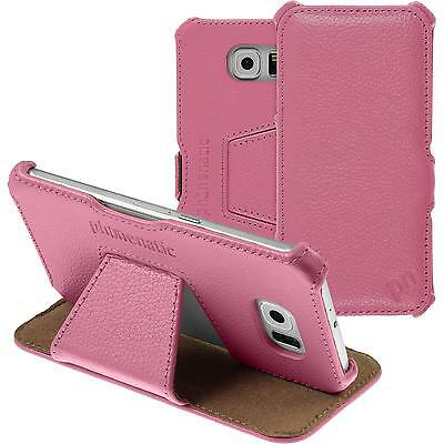 genuine Leather Case for Samsung Galaxy S6 - Leather-Case pink + glass film