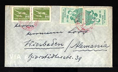8287-BOLIVIA-AIRMAIL COVER LA PAZ to WIEBADEN(germany)1956.Aereo.Aerien.envelopp
