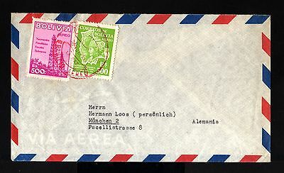 8288-BOLIVIA-AIRMAIL COVER LA PAZ to MUNCHEN(germany)1956.Aereo.Aerien.envelopp